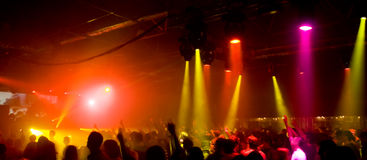 Panorama of a concert. With laser show Royalty Free Stock Photography