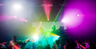 Panorama of a concert. Laser show and music Royalty Free Stock Images