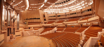 Panorama of concert hall with organ Royalty Free Stock Photo