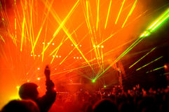 Panorama of the concert, laser show Royalty Free Stock Images