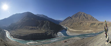 Panorama confluence of the Indus and Zanskar Royalty Free Stock Image