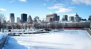 Panorama congelato di Montreal Fotografia Stock