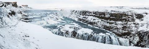 Panorama congelato Gullfoss Fotografie Stock