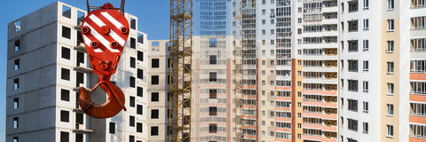 Panorama of the construction of modern concrete buildings.  royalty free stock photos