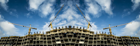 Panorama of the construction of a modern monolithic building Royalty Free Stock Images