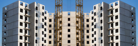 Panorama of the construction of modern residential district.  Royalty Free Stock Photo