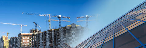 Panorama of the construction of modern residential district.  Stock Photography