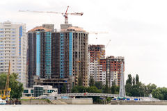 Panorama of construction of new city Stock Photo