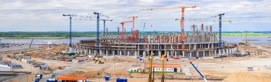 Panorama of the construction site of a huge stadium royalty free stock photography