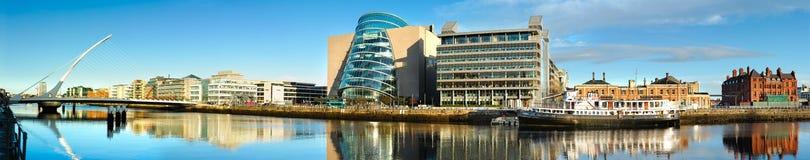Panorama of Convention Centre and Samuel Beckett Bridge in Dublin. DUBLIN, IRELAND - FEBRUARY 4, 2017: Panoramic image of Convention Centre Dublin CCD and Samuel stock images