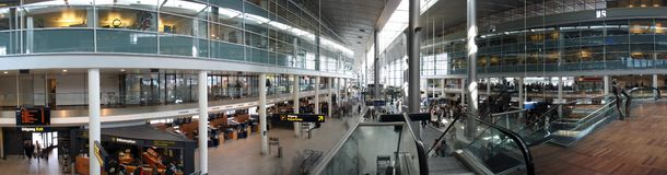 Panorama: Copenhagen Airport Royalty Free Stock Photography