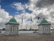 Panorama of Copenhagen harbor with the royal quay Stock Images