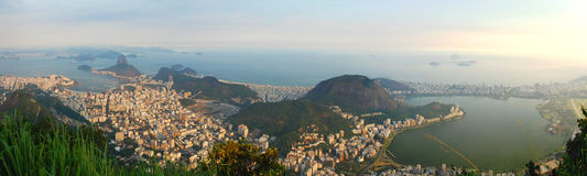 Panorama from Corcovado. Rio de Janeiro, Brazil. Rio de Janeiro, or simply Rio, is the second largest city in Brazil, the sixth largest city in the Americas and Royalty Free Stock Photos