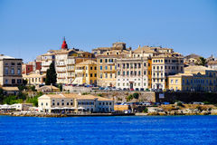 Panorama Corfu town from the sea. Old town buildings in Corfu Royalty Free Stock Photo