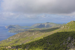 Panorama of Corinth area in Greece Stock Photo