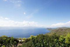 Panorama of Corinth area in Greece Stock Images
