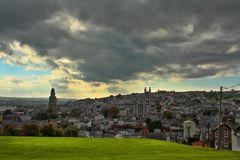 Panorama of Cork. Aerial view of St. Anne`s Church and Cathedral in Shandon, Cork Stock Image