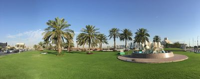 Panorama from the Corniche in Doha Royalty Free Stock Photo
