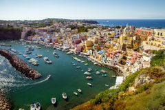 Panorama of Corricella village on Procida island, Campania, Ital Stock Photos