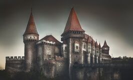 Free Panorama Corvinilor Castle In Summer Season Stock Photos - 180370033