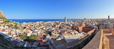 Panorama cosido de Alicante, España Imagen de archivo