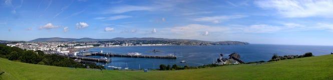 Panorama costurado de Douglas na ilha do homem Fotos de Stock Royalty Free