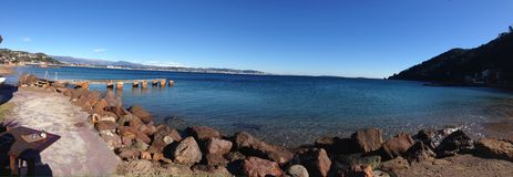 Panorama of cote d'azur with snow covered Alps in back Stock Photography