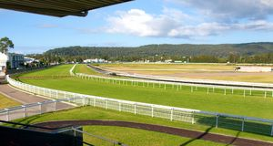 Panorama of a country Australian green grass horse race track wi Stock Image