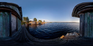 Panorama of country pier on lake. 360x180° spherical panorama view of pier on Lizhmozero lake in Karelia, Russian Federation Stock Images