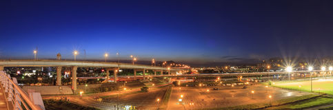 Panorama country side with highway and car parking view Royalty Free Stock Photos