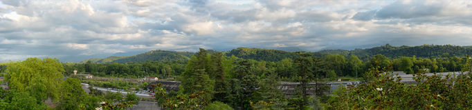 Panorama of the countryside in in the french Pyrenees mountains Royalty Free Stock Photography