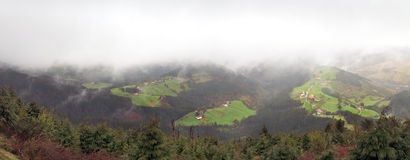 Panorama of countryside village with some typical basque country Royalty Free Stock Images