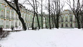 Panorama of courtyard Hermitage winter. HD 1080p: Panorama of courtyard Hermitage in winter, St Petersburg, Russia stock video