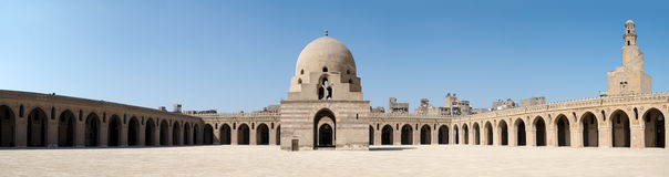 Panorama of the courtyard of Ibn Tulun Mosque, Cairo, Egypt Stock Photography