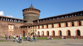 Panorama of the courtyard of the medieval castle of Sforzesco. Milan, Italy. MILAN, ITALY - SEPTEMBER 17, 2017: Panorama of the courtyard of the medieval castle stock video