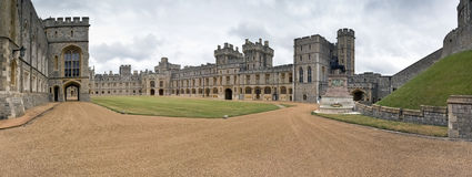 Panoramic view of courtyard, Windsor Castle - UK Royalty Free Stock Photos