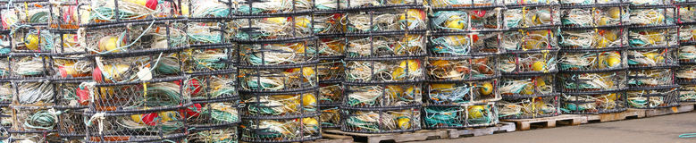 Panorama - crab floats, and crab traps Royalty Free Stock Photos