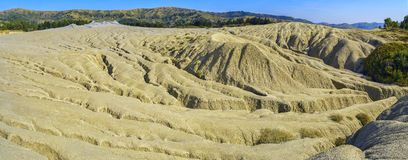 Panorama of cracked soil landscape Stock Photos