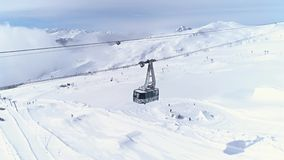 Panorama Crap Sogn Gion Gondola LAAX Mountain Aerial 4k stock footage