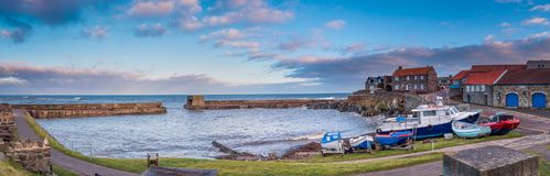 Panorama of Craster Harbour Royalty Free Stock Images