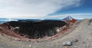 Panorama: crater active Avachinsky Volcano. Kamchatka Peninsula Stock Photos