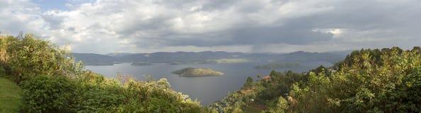 Panorama of crater lake, Virunga, Rwanda. Aerial panorama of crater lake in Virunga, Rwanda Stock Image