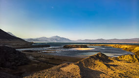 Panorama of Crater salt lake Assal Djibouti. Panorama of Crater salt lake Assal, Djibouti royalty free stock photos
