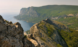 Panorama of Crimea Southern coast rocks. From the top of St. Elias Mountain, Crimea, Ukraine Royalty Free Stock Images