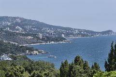 Panorama of the Crimean coast. View from the observation deck in Alupka stock photo