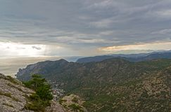 Panorama of the Crimean mountains. Stock Photo