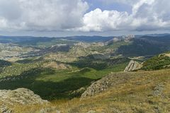 Panorama of the Crimean mountains. Royalty Free Stock Image