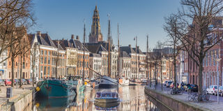 Panorama of a cruiseboat in a canal in Groningen Royalty Free Stock Photo