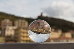 Panorama in a crystal ball. Splendid panorama reflect in a crystal ball Stock Image