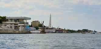 Panorama of Crystal cape with the Obelisk to the Hero City Sevastopol. Ukraine Stock Images